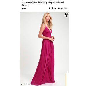 Lulus Queen of the Evening Magenta Maxi Dress